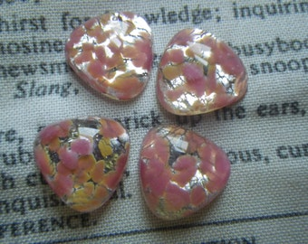 Vintage Rose Pink Silver Fire Opal Glass 14mm Trillion or Triangle Cabochons Cherry Brand 4 Pcs