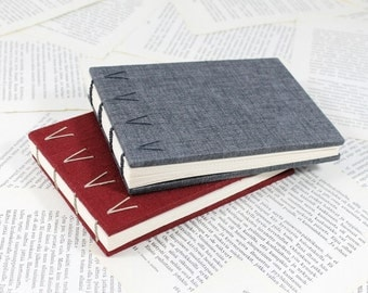 Ruby Red or Dusty Blue Hardcover Notebook - Coptic Binding