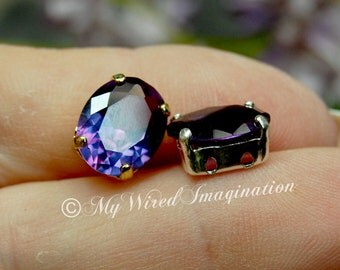 Alexandrite, Color Change, Lab-Grown, Lab-Created Faceted Gemstone, 11x9 Oval, SP or GP Setting Jewelry Supply June Birthstone