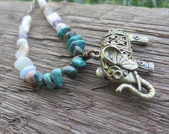 Long Elephant Stone Crystal Necklace - Bohemian Pendant -  Turquoise Neutral Pastel - Festival Gypsy Boho Gemstone - Good Vibes Free Spirit
