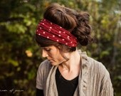 Holiday Dots Headband Garlands of Grace | Red polka dot headwrap headband headcovering hair wrap