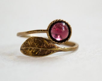 Garnet ring, Thin ring, leaf ring, bronze ring, hippie ring, gemstone ring, stacking ring, delicate ring - Gone with the wind RC2062