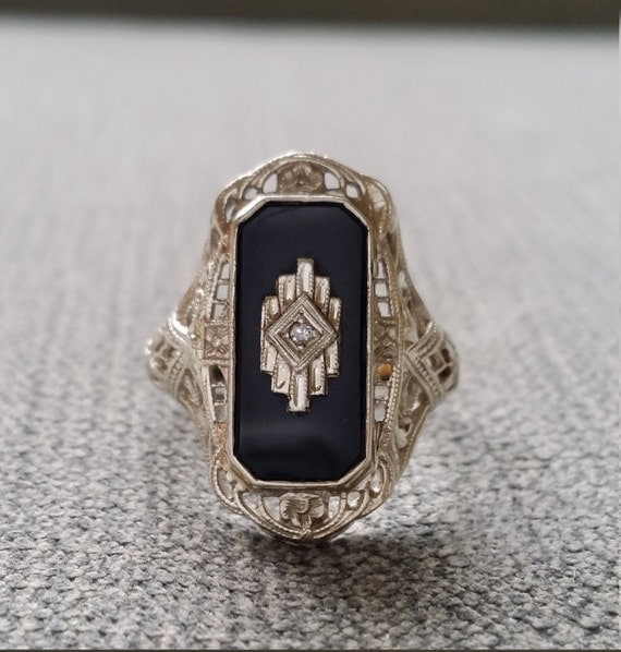 Antique Black yx Diamond Ring Filigree Art Deco Engraved
