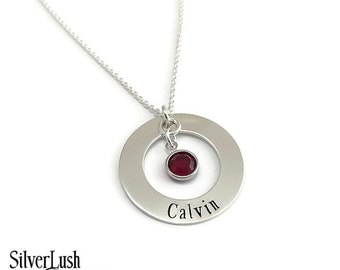 Custom Jewelry Hand Stamped Sterling Silver Necklace with One Name