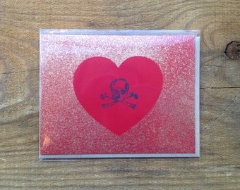 red and gold skull heart card blank hand made anniversary valentine I love you ooak