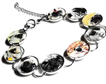 Personalized Pet Bracelet, Memorial Pet Jewelry, Custom Pet Jewelry, Pug Bracelet, Customized Pet Bracelet, Photo Bracelet, Dog, Cat