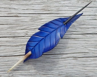 Blue Ombre Leather Hair Feather Hair Slide with African Porcupine Quill Closure  - Stick Barrette with Small Spacing or Shawl Pin