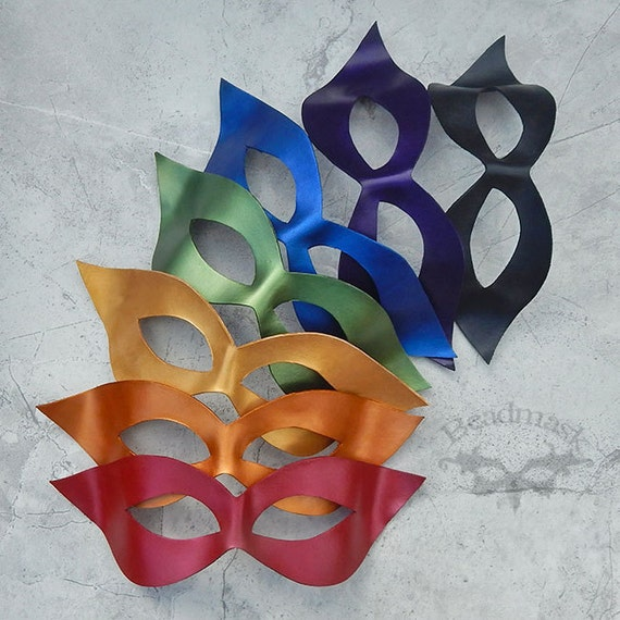 Leather Masquerade Mask -  Unisex Domino Mask  In Your Color - Adult Costume Halloween