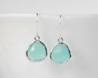 Mint Green Silver Earrings, Mint Silver Earrings, Green Silver Earrings, Bridesmaid Earrings, Bridesmaid Gift, Wedding Jewelry