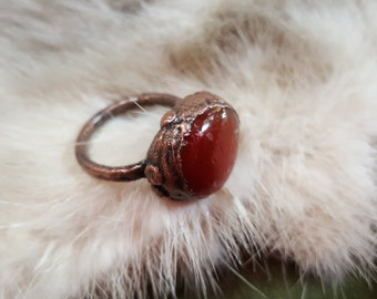 Electroformed Carnelian Ring | size 8.5 | Electroplated Copper Ring | Carnelian Crystal Jewelry | Pagan Occult Jewelry | Earth Witch