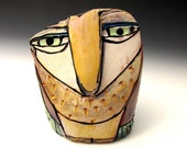 """Owl, Owl art, Clay owl, clay sculpture, """"Owl Person Centered in the Dream of Love"""", 3-7/8"""" tall"""