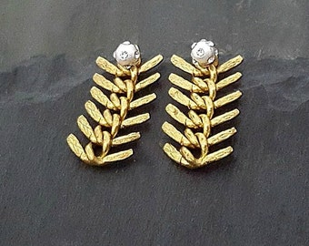 Gold Silver Ear Jacket, Sterling Silver Post, Gold Ear Jacket Earrings, Gold Fishbone Chain, Gold Silver Earrings, Fish Spine Earrings