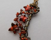 Fire Ivy Vine Key Pendant -- Wire Wrapped Key with Red-Orange Ivy Leaves, Swarovski Crystals, Antique Brass Wire - by Silver Owl Creations