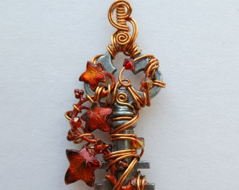 Small Ivy Vine Wire Wrapped Key Pendant -- Golden Wire, Flame Red/Orange Ivy Leaves, Swarovski Crystals, by Silver Owl Creations