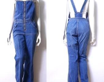 Vintage Bib Overalls Demin 1970s Straight Leg Blue Denim Jumpsuit small