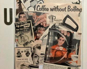 Vintage Paper Pack ~ Vintage Ephemera Mid Century COFFEE Magazine Ads Collage Inspiration Kit Paper Pack 'U' Smash Book Junk Journal COFFEE