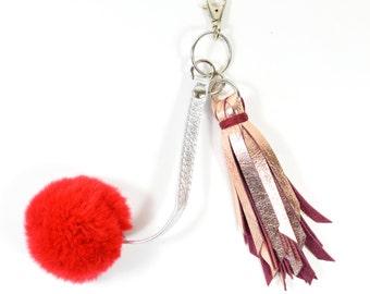 Handmade Metallic Copper Leather & Red Pompom Keychain SC16
