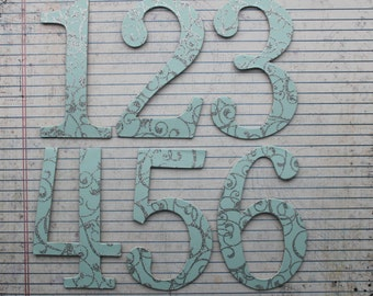 """Wedding Numbers 4"""" tall 1-10 aqua w/silver glitter chipboard die cuts"""