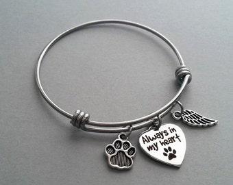 Pet Loss Charm Bracelet, Pet Loss Bangle, Pet Memorial, Pet Remembrance, Always In My Heart, Stainless Steel Bangle, Stainless Steel Charm