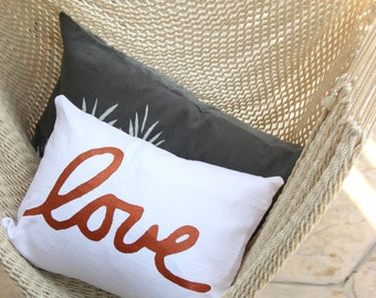 Copper and White Love Throw Pillow - Lumbar Love Pillow - Hand Lettered Screenprint - Copper Ink Pillow