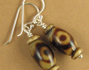 Tibetan bead earrings.'dzi /zee'. Brown. Buddhist. Small. Sterling silver 925.
