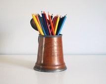 Antique Copper Mug, Yacht Club Trophy, Pewter Glass Stein, Vintage Beer Mug, 1909 Bristol Yacht Club Prize, Engraved Tankard, Man Cave Decor