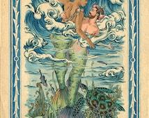 The Sea Princes Signed Gay Art Male Merman Nude Fine Art Print by Felix dEon Mature