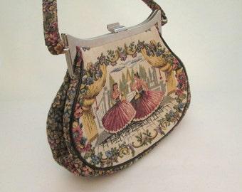 Vintage Tapestry Bag, Carpet Bag, La Marquise, flamenco, fabric handbags, petit point purse, tapestry purse, Italian handbags, flower purse