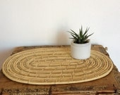 Vintage Mid Century Straw Coil Trivet or Mat, Natural Table Centerpiece Placemat, Large Trivet, Holiday Table Setting