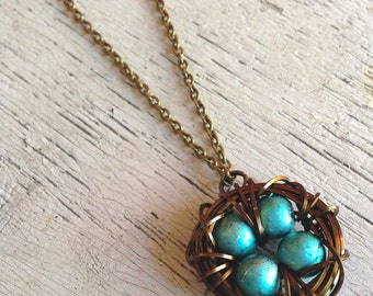 Four 4 Egg Custom Vintage Style Wire Wrapped Bird Nest Antique Silver Brass Egg Pendant Necklace New Mom Mother's Day CHOOSE YOUR COLOR