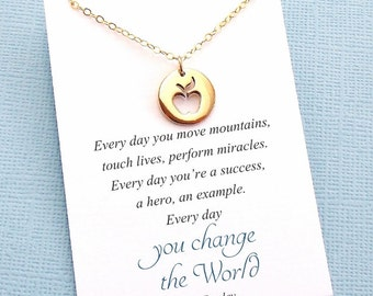 Mentor Teacher Gift | Apple Necklace, Teacher Gifts, Mentor Gift, Mentor, Mentor Appreciation, Mentor Teacher Gift, Silver or Gold | T03