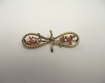 Victorian Coral Branch Brooch  Something Old Beach Wedding Twisted Rolled Gold