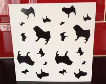 Pug Dog Breed Specific Silhouette Blank Greeting Note Card
