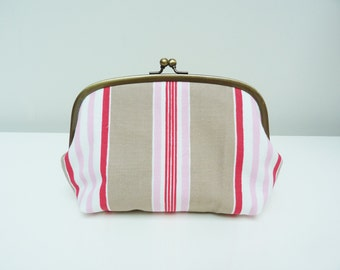 Cosmetic bag, beige red and pink striped cotton fabric, cotton pouch