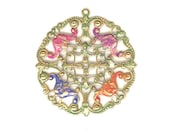 Vintage Floral Openwork Pale Ox Over Brass Hand Painted Sealed Patina Filigree 2 Inch Pendant