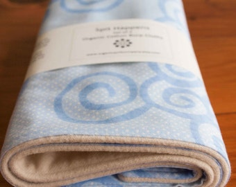 SALE, Save 50% Organic Burp Cloth, Set of Two in SWIRLY BLUES; Blue Swirls Organic Burp Cloths Baby Gift Set of 2 by Organic Quilt Company