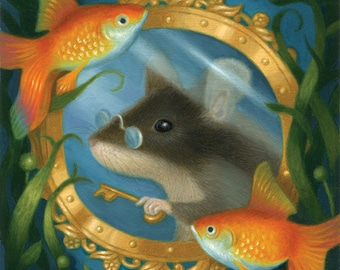 Mouse Cute Goldfish Under Water Ocean Animal Art Print Nature