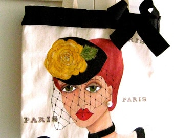 PARIS MANON TOTE, Hand Painted Tote, Paris, Shoe Tote, Shopping Tote, black grosgrain, yellow rose, pearl, gift for her, canvas tote