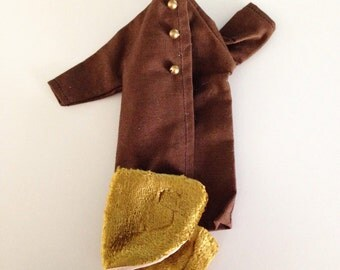 Vintage 50s 60s Barbie Doll Brown Coat and Stole