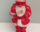 1950s Santa Claus Dark Red Candy Container - Kitschy Christmas Figurine