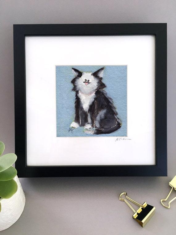 ORIGINAL portrait of Black and white cat painting, tuxedo cat illustration, original painting, framed ready to hang, by Bernadette Artwork