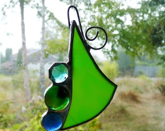 Abstract Lime #11 -  Mini Suncatcher - Stained Glass with Glass Beads and Wire Spiral