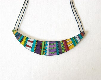 Geometric Statement necklace - Bib necklace - Abstract illustrated jewelry