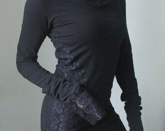 Extra long sleeved hooded tunic dress/ Black with Black floral lace sides
