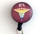 Magnetic ID Badge Reel, RN Caduceus, Nurse Badge, Black Badge Holder