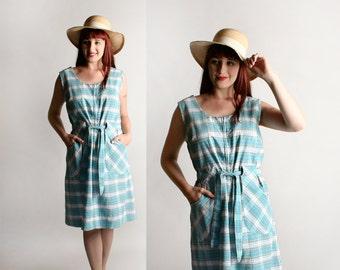 Vintage 1960s Seersucker Dress - Plaid Turquoise Picnic Summer Dress - Cotton Day Dress - Large