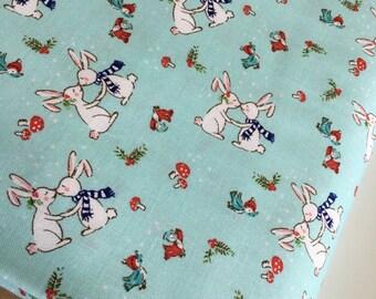 Christmas fabric, Pixie Noel fabric, Holiday fabric, Tasha Noel by Riley Blake, Aqua fabric, Pixie bunnies in Aqua,  Choose the cut