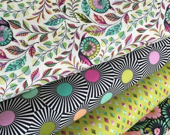 Slow and Steady fabric bundle by Tula Pink, Tortise and the Hare, Fairytale, Fabric Bundle of 4- You Choose the Cut, Free Shipping Available