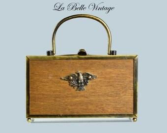 1960s Brass Novelty Eagle Wood Box Purse ~ The Elaine Shop Vintage Handbag