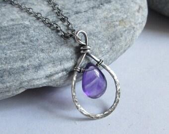 Amethyst Necklace, Oxidized Sterling Silver, Amethyst Pendant, Teardrop Gemstone, February Birthstone Jewelry